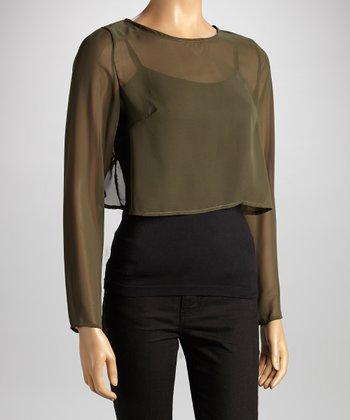 Olive Chiffon Open Back Crop Top