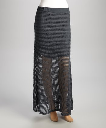 Charcoal Crocheted Maxi Skirt