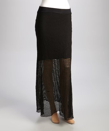 Black Crocheted Maxi Skirt