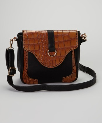 Black & Tan Croc-Embossed Crossbody Bag