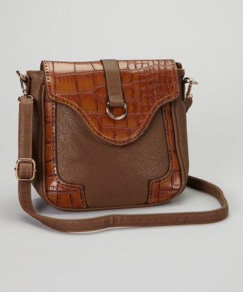 Taupe & Tan Croc-Embossed Crossbody Bag