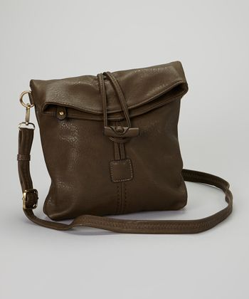 Olive Toggle-Button Faux Leather Messenger Bag