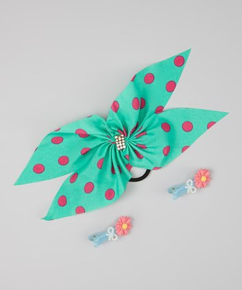 Blue & Pink Bow Hair Tie & Clip Set