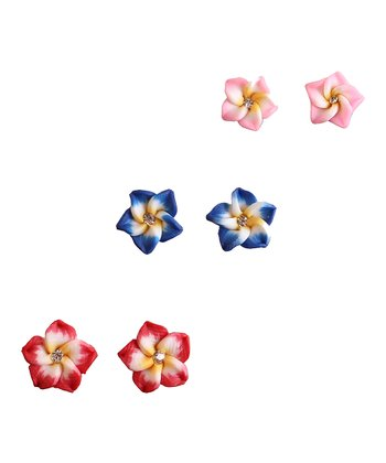 Blue & Red Flower Magnetic Earrings Set