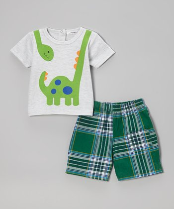 Gray Dino Tee & Green Plaid Shorts - Infant, Toddler & Boys