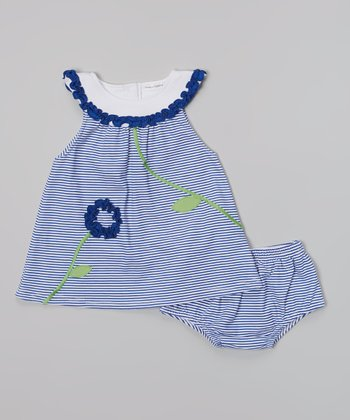 Rumble Tumble Navy Stripe Flower Dress & Diaper Cover - Infant