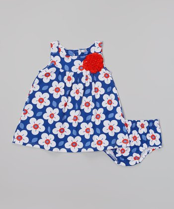 Rumble Tumble Navy & Red Flower Dress & Diaper Cover - Infant