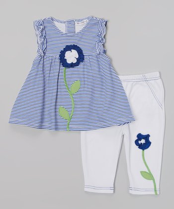 Rumble Tumble Navy Stripe Flower Dress & White Leggings - Infant