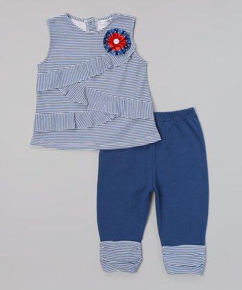 Rumble Tumble Navy Stripe Ruffle Tunic & Leggings - Infant, Toddler & Girls