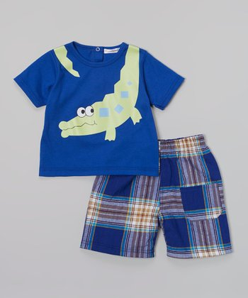 Blue Alligator Tee & Plaid Shorts - Infant, Toddler & Boys