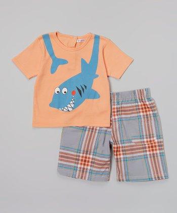 Rumble Tumble Coral Shark Tee & Gray Plaid Shorts - Infant, Toddler & Boys