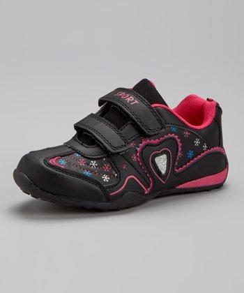 SYKE Black & Fuchsia Heart Sneaker