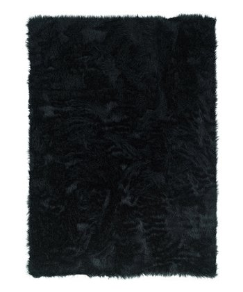 Black Faux Sheepskin Rug