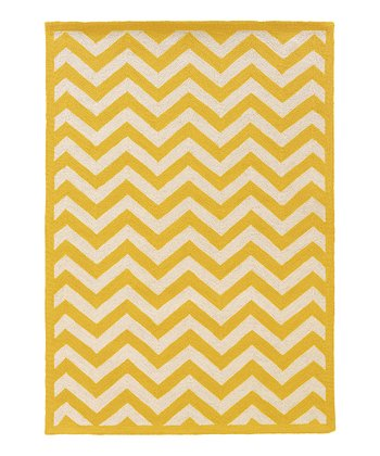 Yellow Zigzag Silhouette Wool Rug