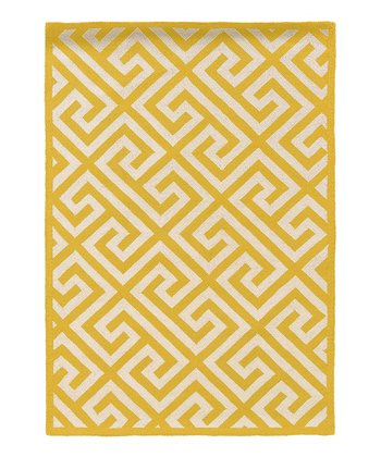 Yellow Key Silhouette Wool Rug