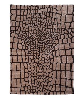 Beige & Brown Crocodile Trio Rug