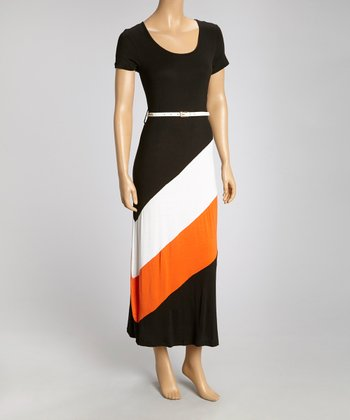 Black & White Color Block Belted Maxi Dress