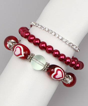 Red Pearl & Bead Stretch Bracelet Set