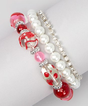 White Pearl & Pink Bead Stretch Bracelet Set