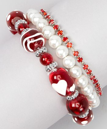 White Pearl & Red Bead Stretch Bracelet Set
