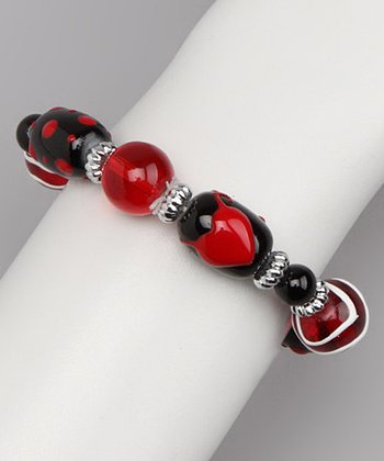 Black & Red Hand-Painted Bead Stretch Bracelet