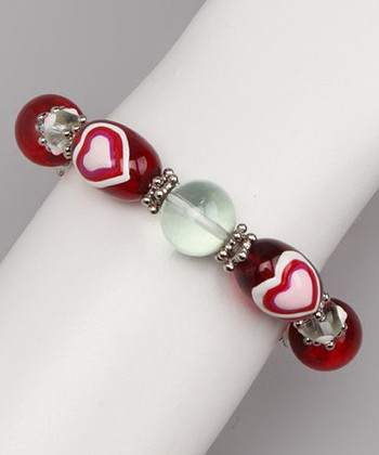 Red & Pink Hand-Painted Stretch Bracelet