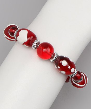 Red & White Hand-Painted Stretch Bracelet