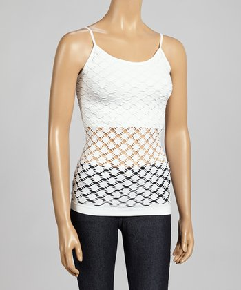 White Circle Mesh Camisole - Women
