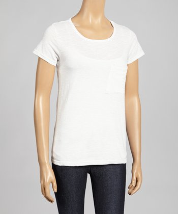White Sequin Pocket Tee - Women