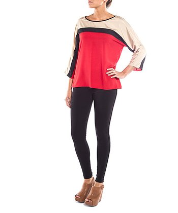Red & Tan Stripe Top