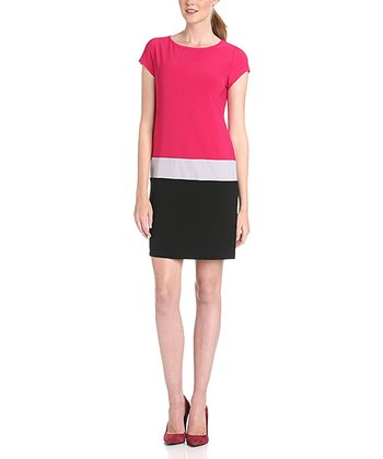Fuschia & Black Color Block Dress - Women