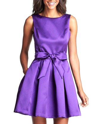 Grape Pleated Bow Dress - Women