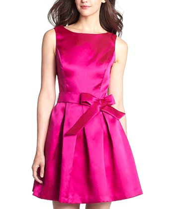Fuschia Pleated Bow Dress - Women