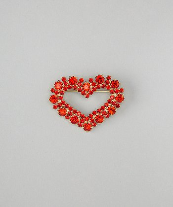 Gold & Red Stud Heart Brooch