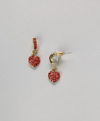 Gold & Red Glimmer Heart Drop Earrings
