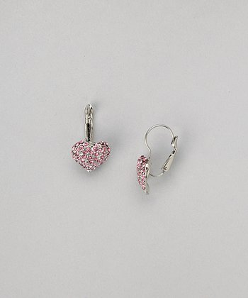 Silver & Pink Heart Earrings