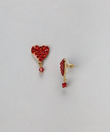 Gold & Red Bubble Heart Drop Earrings