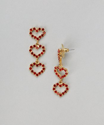Gold & Red Heart Drop Earrings