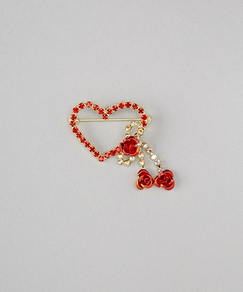 Gold & Red Rose Heart Brooch