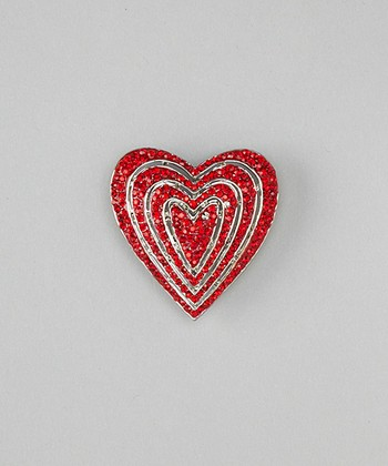 Silver & Red Infinity Heart Brooch