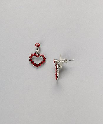 Silver & Red Heart Drop Earrings
