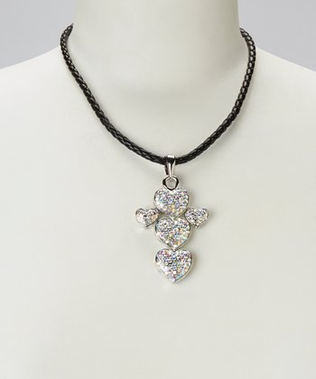 Silver Shimmer Heart Pendant Necklace