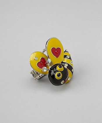 Silver & Yellow Heart Bee Ring