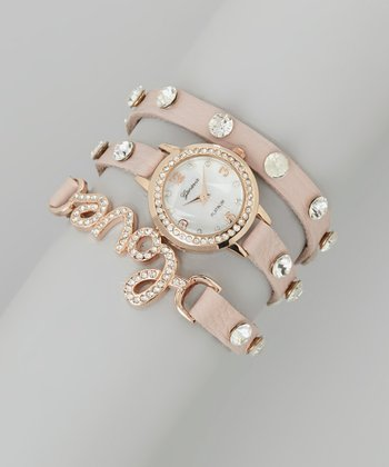 Pink 'Love' Wrap Watch