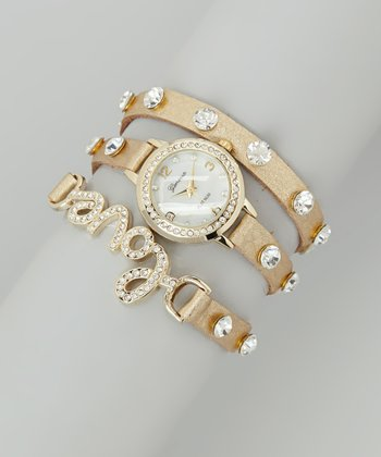 Gold 'Love' Wrap Watch