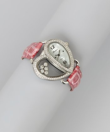 Hot Pink Heart Floating Crystals Watch