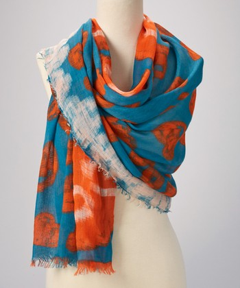 Orange & Sky Abstract Scarf