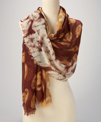 Brown & White Abstract Scarf
