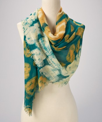 Teal & Yellow Abstract Scarf