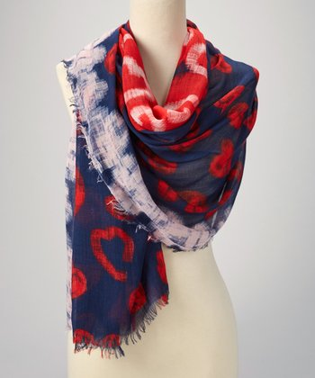 Navy & Red Abstract Scarf